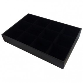 Tava expunere ceasuri catifea neagra 12 compartimente 35x24x5cm