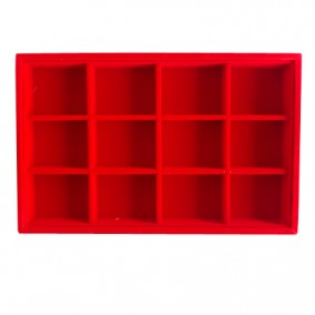 Tava catifea rosie 12 compartimente 23x14.5x3cm