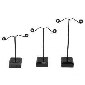 Set 3 suporturi fixe 3 perechi cercei negru