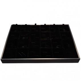 Suport satin catifea neagra pentru expunere 24 perechi de butoni 35x24x3cm