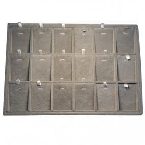 Tava catifea gri pentru expunere 18 seturi bijuterii 35x24x3cm
