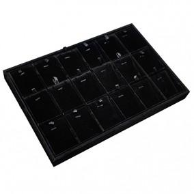 Tava catifea neagra pentru expunere 18 seturi bijuterii 35x24x3cm
