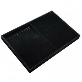 Tava catifea neagra pentru expunere inele cercei si bratari 35x24x3cm