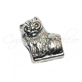 Margele metalice argintii leu 10x13x6 mm