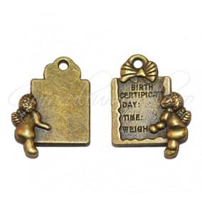 Charm bronz certificat nastere 18x15 mm