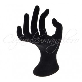Suport inele mana velur negru 10x16 cm