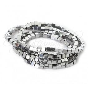 Hematite cubice argintii 4 mm