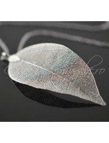 Pandantiv frunza filigranata gri argintiu 85x40mm