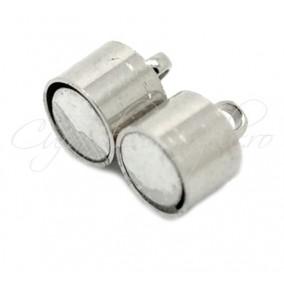 Inchizatori magnetice cilindrice 2 piese alb argintiu 17x7 mm