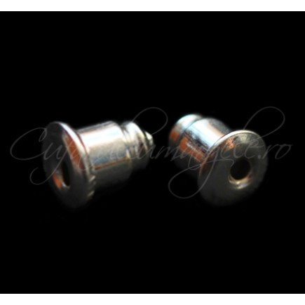 Dopuri cercei bullet alb argintiu 5mm