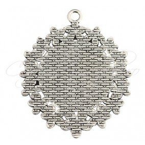 Baza pandantiv argintiu flori 50x40mm cabochon rotund 25mm