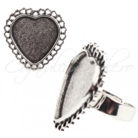 Cadru inel gri argintiu cabochon inima 28mm