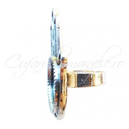 Cadru inel gri argintiu mana Hamsa 40x30mm cabochon rotund 18mm