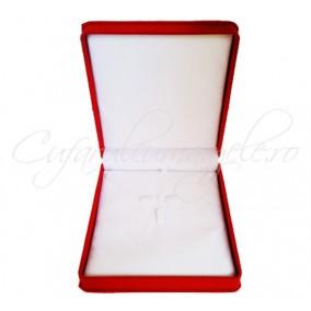 Cutie cadou set bijuterii catifea rosie 16x17x5cm