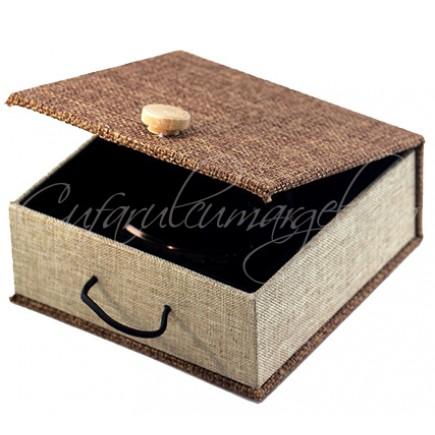 Cutie bratara fixa lemn in bej 12x12x5cm