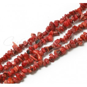 Coral rosu chips 5-8mm sirag 90cm