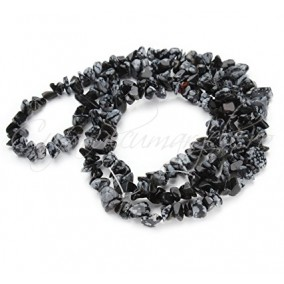 Obsidian snowflake chips 5-8mm sirag 90cm