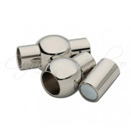 Inchizatori magnetice snur rotund 3mm gri argintiu 16x8mm