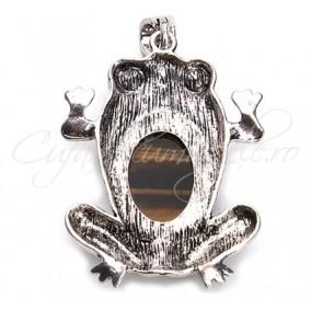 Pandantiv broasca cabochon ochi tigru 38x61mm
