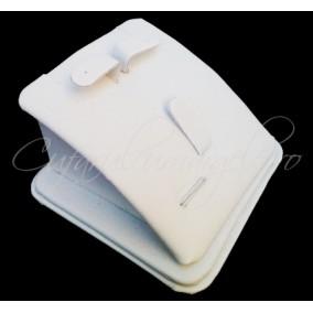 Suport set bijuterii imitatie piele alb 7x7x4cm