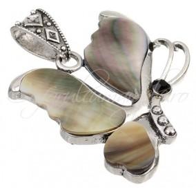 Pandantiv fluture sidef gri 41x60mm