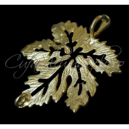 Charm auriu frunza vita de vie 26x20mm