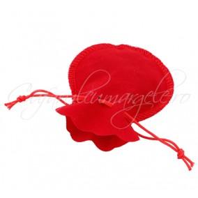 Saculet rotund catifea rosu 9x7cm