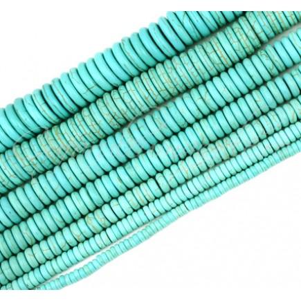 Turcoaz sintetic rondele nefatetate 10x5mm