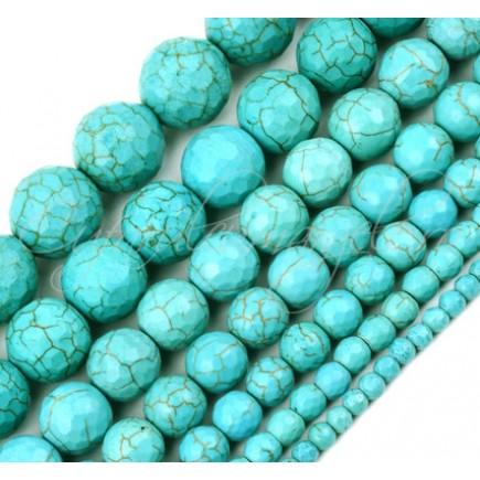 Turcoaz sintetic sferic fatetat 16mm