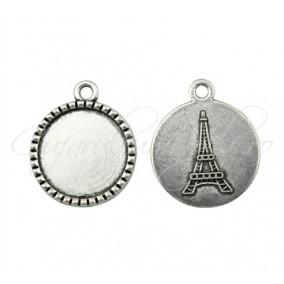 Baza pandantiv argintiu Eiffel 26x22mm cabochon rotund 18mm