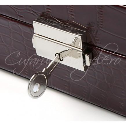 Caseta bijuterii ceas piele ecologica lacuita negru 30x20x8cm