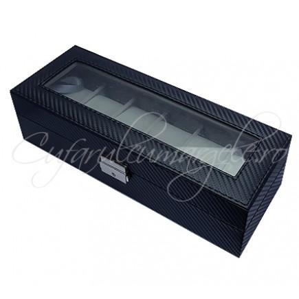 Caseta 6 ceasuri piele ecologica neagra 31x12x9cm
