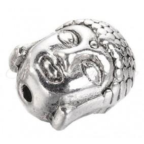 Margele argint tibetan cap Buddha 2 fete 11x10x8mm
