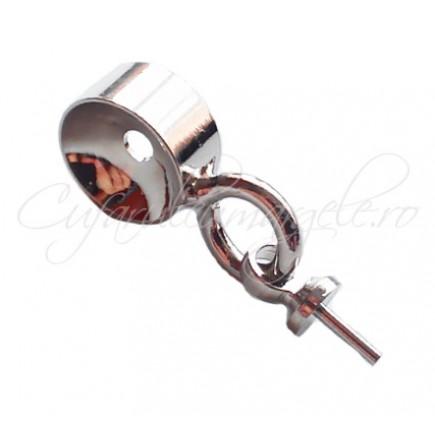 Agatatori pandantiv cui gri argintiu anou circular 16 mm