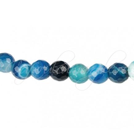 Agate striate fatetate albastru 6 mm