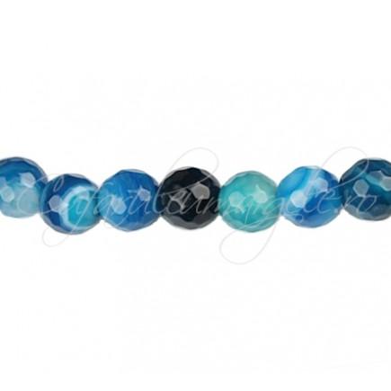 Agate striate fatetate albastru 8 mm