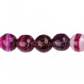 Agate striate fatetate fucsia 12 mm