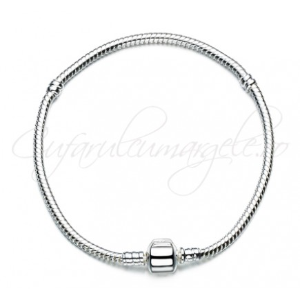 Baza bratara Pandora alb argintiu stopper 18 cm