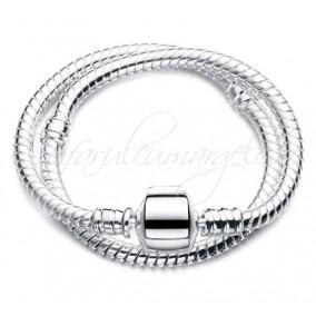 Baza bratara Pandora alb argintiu stopper 20 cm
