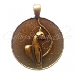 Baza bronz pandantiv pisica 43x35mm cabochon rotund 30mm
