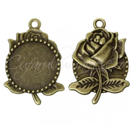 Baza bronz pandantiv trandafir 55x35mm cabochon rotund 30mm
