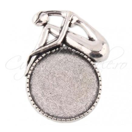 Baza brosa argintie femeie 42x29mm cabochon 25mm