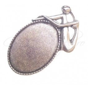 Baza brosa argintie femeie 52x30mm cabochon oval 35x25mm
