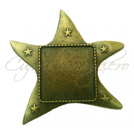 Baza brosa bronz stea 55x50mm cabochon patrat 25mm
