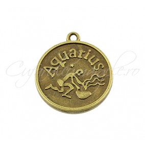 Baza cabochon bronz zodii Aquarius 30x28mm