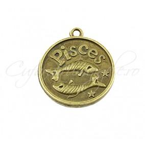 Baza cabochon bronz zodii Pisces 30x28mm