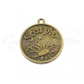 Baza cabochon bronz zodii Scorpio 30x28mm