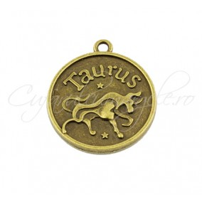 Baza cabochon bronz zodii Taurus 30x28mm