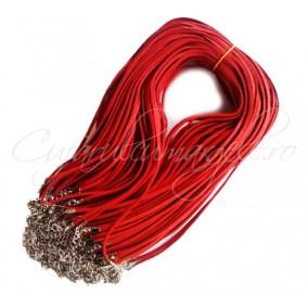 Baza colier faux suede rosu sclipici 45cm