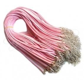 Baza colier faux suede roz sclipici 45cm